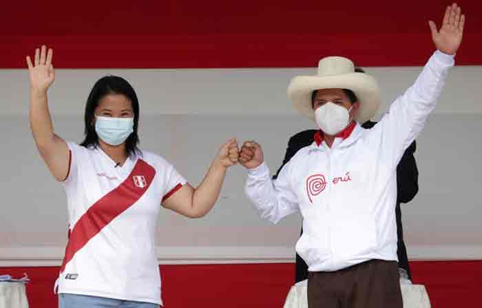 Castillo y Fujimori disputarán la segunda vuelta presidencial en Perú el próximo 6 de junio. Foto: EFE