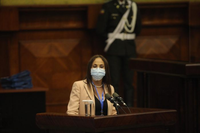 Pierina Correa, del partido Unión de la Esperanza, asumió la dirección de la sesión del Pleno. Foto: Julio Estrella / EL COMERCIO