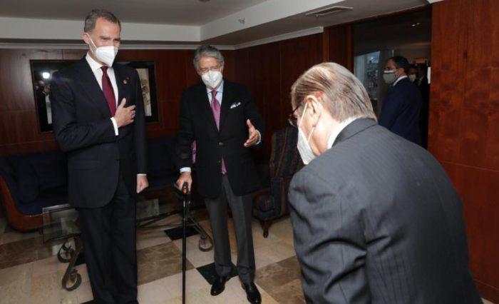 El presidente Guillermo Lasso presentó a Pascual del Cioppo al rey español Felipe VI, durante una reunión antes de la posesión. Foto: Cortesía