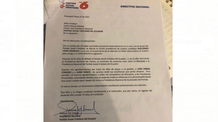 Del Cioppo envió una carta, en la que anunciaba su renuncia a la Presidencia del PSC. Foto: Cortesía