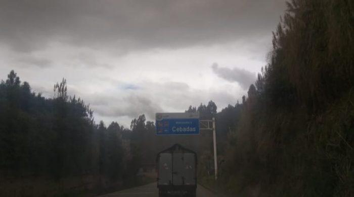 Cebadas, Guamote y Palmira son los poblados más afectados por la emisión de ceniza del volcán Sangay en Chimborazo. Foto: Cortesía Sngre