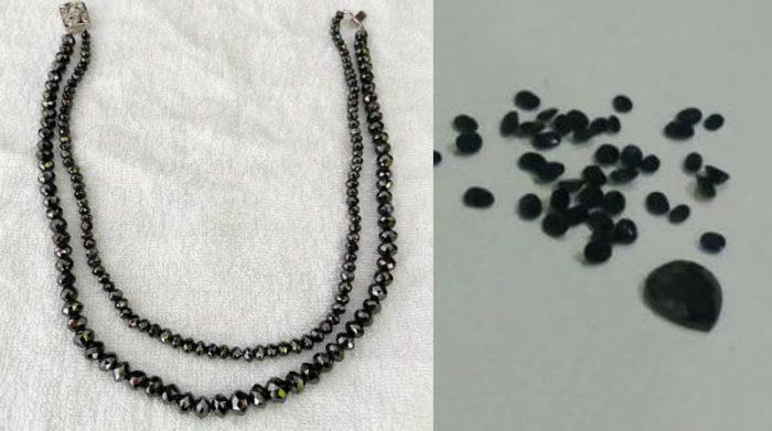 En evidencias se encontraban un collar de esmeraldas, otro de diamantes y zafiros. Foto Twitter Policía Nacional