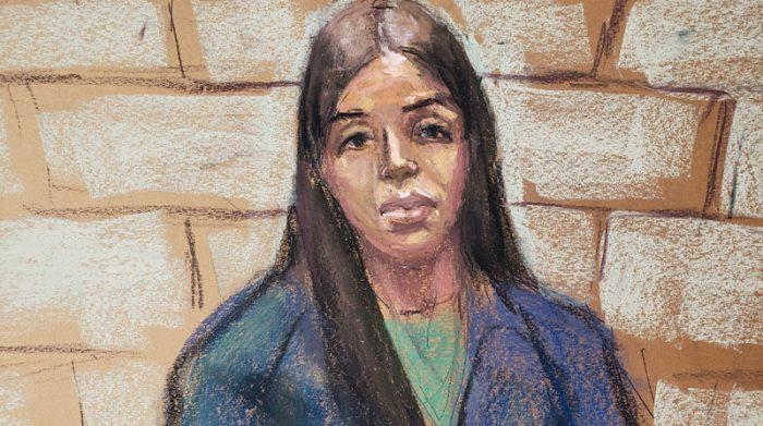 Boceto de la sala en donde Emma Coronel, la esposa del jefe del cartel de la droga mexicano Joaquín 'El Chapo' Guzmán, comparece durante una audiencia virtual en un Tribunal federal en Washington, D.C. el pasado 23 de febrero de 2021. Foto: Reuters