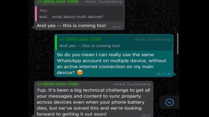 Inicialmente la entrevista era de Cathcart con WABetaInfo; sin embargo, Zuckerberg causó asombro al unirse al chat en donde se estaba desarrollando el diálogo. Foto: 9to5Mac