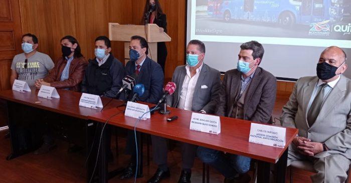 La Secretaría de Movilidad se pronunció sobre el informe de Quito Honesto en una rueda de prensa este 22 de junio del 2021. Foto Daniel Romero / EL COMERCIO