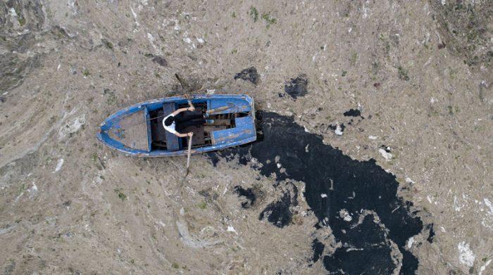 Las personas temen que la contaminación de la capa de mocos en el mar afecte la actividad pesquera. Foto: EFE