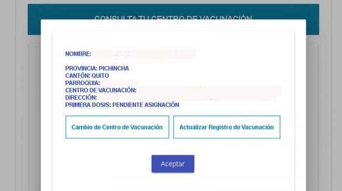 Después de ingresar todos sus datos a la página web del Registro de vacunación, el sistema le dará la opción de cambiar el lugar del Centro de Vacunación en un botón ubicado en la parte izquierda inferior. Foto: Captura de pantalla