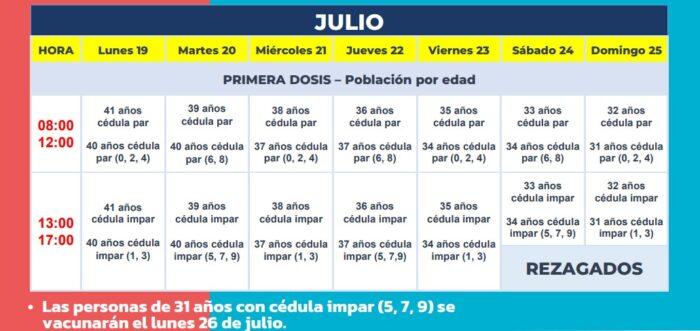 Cronograma de vacunación del 19 al 25 de julio del 2021. Foto: Ministerio de Salud