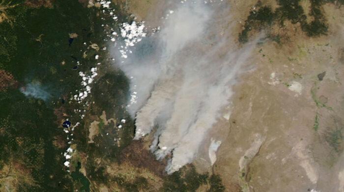 Imágenes satelitales han captado la magnitud de las llamas en Oregon, que ha afectado a las especies que habitan el lugar. Foto: EFE