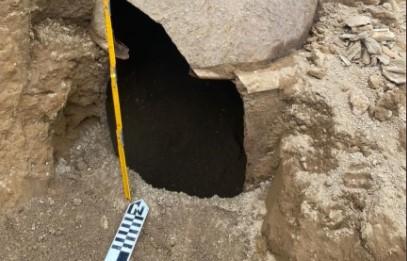 Los trabajos en la hacienda, en donde se produjo el hallazgo, se suspendieron para realizar los estudios de los vestigios arqueológicos. Foto: Twitter INPC