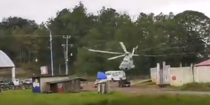 Las imágenes del accidente del helicóptero se difundieron en redes sociales. Foto: Captura de pantalla