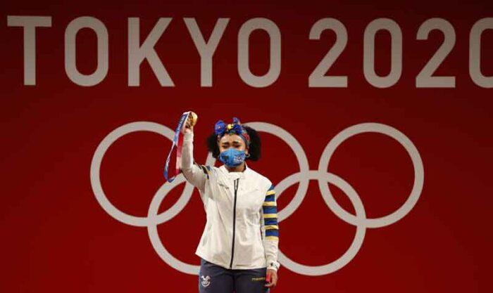 Neisi Dajomes ganó la medalla de oro en los Juegos Olímpicos de Tokio. Foto: EFE