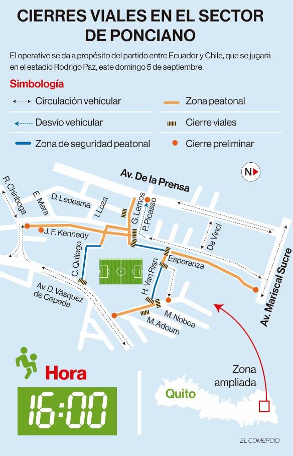 Infografía de los cierres viales en el sector de Ponciano, norte de Quito, por el partido de las elecciones de Ecuador y Chile a las 16:00 de este 5 de septiembre del 2021.