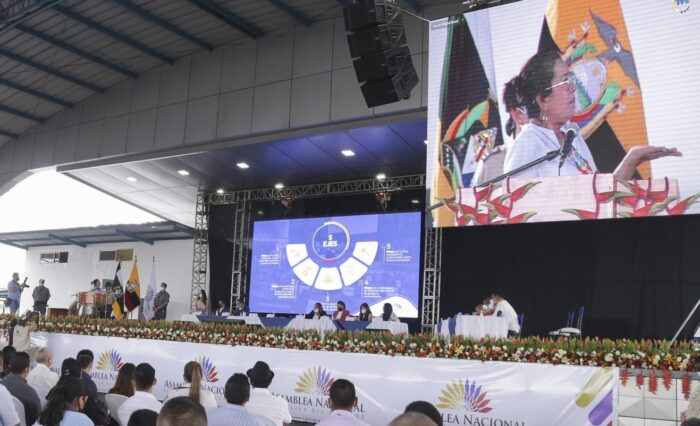 La presidenta Guadalupe Llori, en un evento en Orellana el 29 de julio pasado. Foto: Cortesía Asamblea Nacional