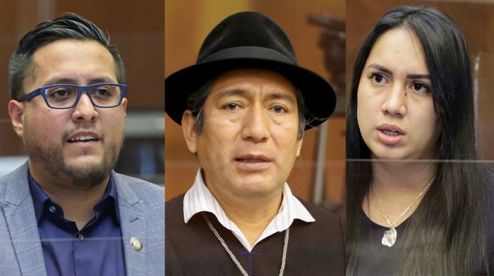 El asambleísta Juan Fernando Flores hace un llamado a encontrar los puntos de encuentro en la Ley. Quishpe y Moreira tienen reparos. Fotos: Asamblea