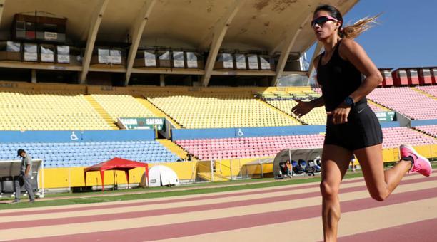 Rosalba Chacha durante un entrenamiento. Foto: Cortesía Comité Olímpico Ecuatoriano.