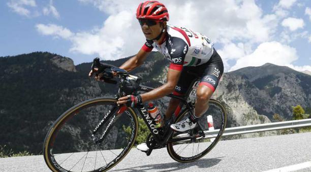 El ciclista colombiano John Darwin Atapuma (UAE Team Emirates) durante la etapa 18 del Tour de Francia