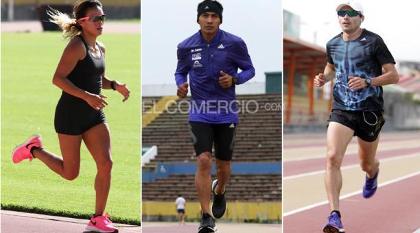 Desde la izquierda.: Rosalba Chacha, Segundo Jami y Byron Piedra compitieron el pasado domingo en la maratón de Rotterdam, en Holanda. Foto: Archivo / EL COMERCIO