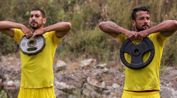 Gabriel Marquez, en un entrenamiento de Barcelona, como parte de la preparación para el reinicio del campeonato nacional. Tomado de Barcelonapeonato nacional. Tomado de Barcelona