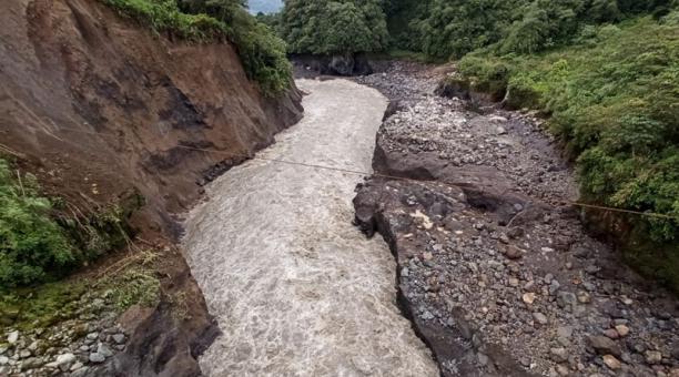 Erosión en la zona llamada Ventana 2 del río Coca. Foto: cortesía Celec.