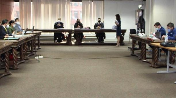 Los jueces Daniella Camacho (ponente), David Jacho y Wilman Terán, agravaron la sentencia de la exasambleísta Norma Vallejo por el caso Diezmos. Foto: Twitter Corte Nacional