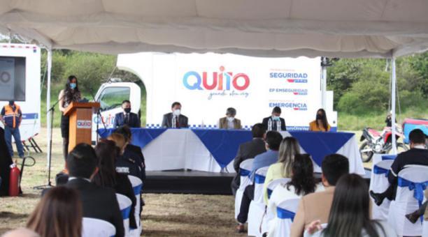 La presentación del Plan Anual de Prevención y Respuesta se realizó en el Itchimbía, en Quito, el 14 de enero del 2021. Foto: Diego Pallero / EL COMERCIO