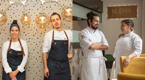Los chefs Carolina Sánchez e Iñaki Murua, del restaurante Ikaro, y Alejandro Chamorro y Pía Salazar, de Nuema, prepararán una cena en Quito. Fotos: cortesía: Espai Epicur