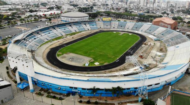 El estadio Modelo Alberto Spencer se mantiene en un proceso de remodelación integral. Foto: Twitter Andrea Sotomayor
