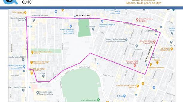 La EEQ publicó una imagen del perímetro en donde se aplicará el corte de luz, en los sectores de la avenida Del Maestro y Real Audiencia. Foto: Cortesía