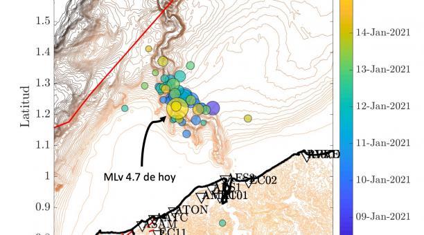Localización del sismo del viernes 15 de enero de 202, con una magnitud de 4.7 grados, y varios eventos asociados. Este temblor es parte de un enjambre en curso desde el 8 de enero y que previamente documentó el IG el domingo 10 de enero, dijo el Institut