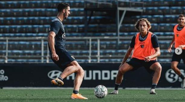 Leonardo Campana en uno de los entrenamientos con el Famalicao. Foto: Instagram del club