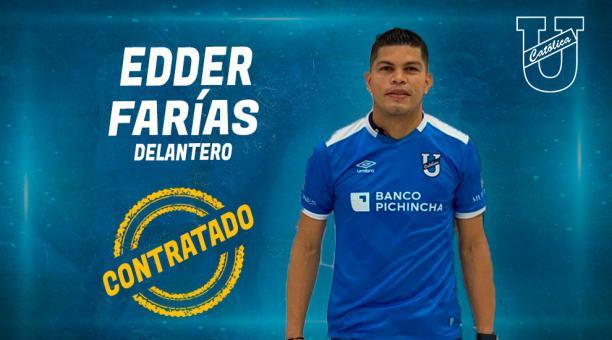 Edder Farías llega a la Católica para reforzar la delantera para esta temporada. Foto: Twitter de la Cat{olica