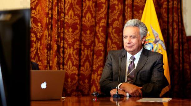 El presidente de Ecuador Lenín Moreno durante un diálogo