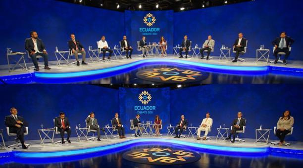 Los 16 candidatos presidenciales de Ecuador participaron en el debate obligatorio del CNE, el sábado 16 y 17 de enero del 2021. Foto: Flickr CNE