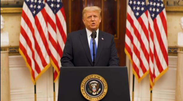 Donald Trump ofreció este 19 de enero del 2021 su último discurso como presidente de EE.UU. Foto: EFE
