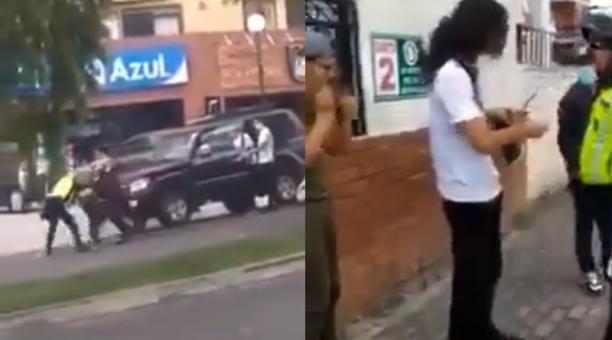 El hecho fue registrado por el conductor de otro vehículo que circulaba en sentido contrario de la vía, quien comentó en voz alta que los ocupantes del carro negro se encontraban en estado etílico. Foto: Captura