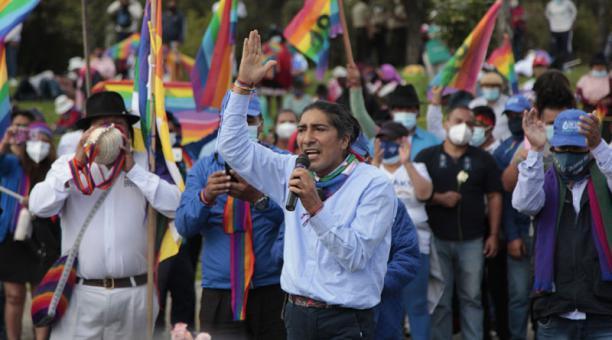 Los dirigentes de los movimientos indígenas y campesinos aseguran que defenderán los votos de Yaku Pérez. Foto: Galo Paguay/ EL COMERCIO.