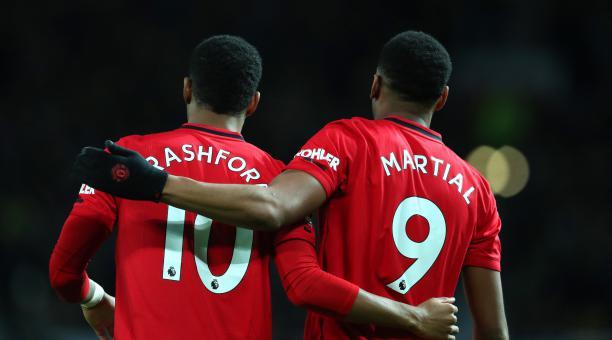 Anthony Martial y Marcus Rashford celebran su partido 250 con el Manchester United. Foto: Tomado de Twitter