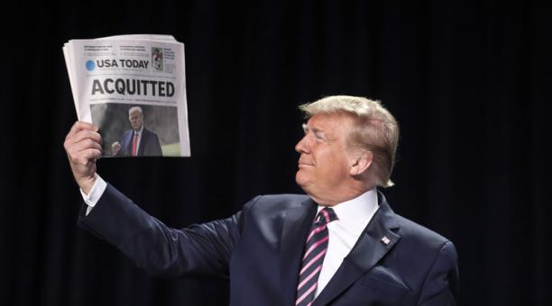 El presidente de EE.UU., Donald Trump, fue absuelto este 13 de febrero del 2021 en el segundo juicio político al que fue sometido debido al asalto del Capitolio. Foto: EFE