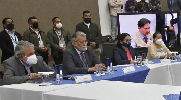 La reunión de los integrantes del Consejo Nacional Electoral (CNE) se suspendió el lunes 15 de febrero del 2021, en donde se debía definir el reglamento para el recuento de votos. Foto: Eduardo Terán/ EL COMERCIO