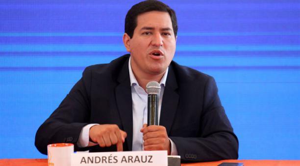 El candidato correísta a la presidencia, Andrés Arauz, ofreció declaraciones este 9 de febrero del 2021. Foto: Julio Estrella/ EL COMERCIO.
