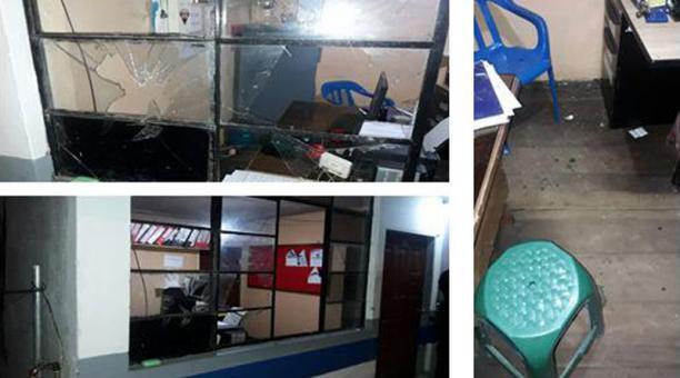 La Policía expuso imágenes de los daños que, aparentemente, habrían causado los hombres a la UPC tras agredir a los agentes. Foto: Cortesía