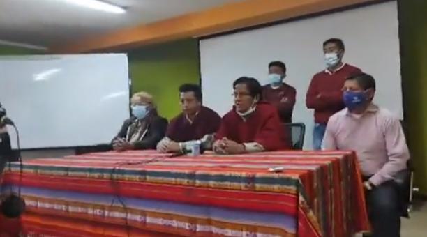 Carlos Tagua, presidente de la Confederación del Movimiento Indígena de Chimborazo (Comich), habló de la movilización hacia Quito para pedir el reconteo de votos al CNE. Foto: Captura de pantalla