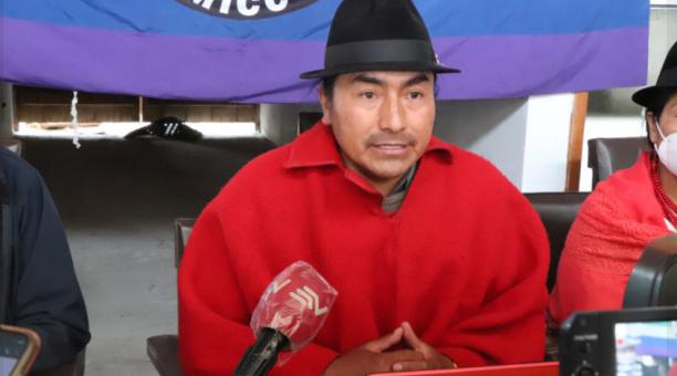 Leonidas Iza, presidente del Movimiento Indígena y Campesino de Cotopaxi (MICC) habló de la participación de la organización de la provincia andina en la marcha convocada por Pachakutik. Foto: Facebook MICC