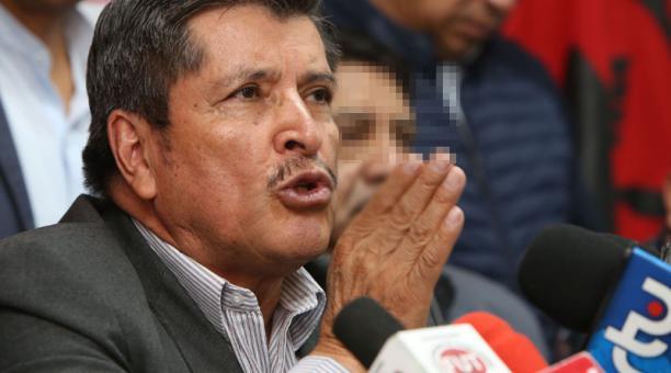 Mesías Tatamuez, presidente del FUT, habló de la movilización que realizarán en Quito para pedir transparencia en los resultados electorales al CNE. Foto: Archivo/ EL COMERCIO