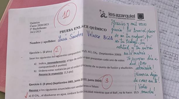 El mensaje de un profesor en la prueba de su alumna que se ha vuelto viral.