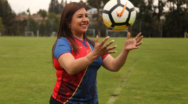 La presidenta del club Olmedo de Riobamba, Mayra Argüello, habló sobre lo ocurrido en el inicio del campeonato 2021. Archivo/EL COMERCIO