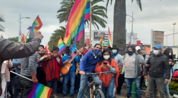 El candidato Yaku Pérez llegó con su caravana desde Cañar. Foto: Cortesía