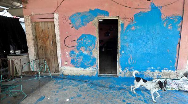 Los atacantes cubrieron de pintura las paredes, ventanas y la puerta de la casa de la disidente cubana Anyell Valdés. Foto: EFE