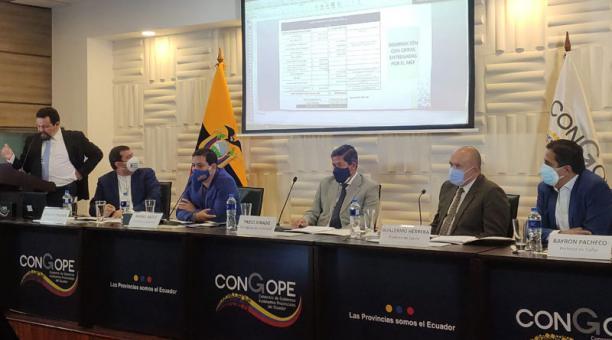 Arauz volvió a referirse al rol que, a su criterio, debe cumplir el Banco Central del Ecuador (BCE) para garantizar liquidez a los Gobiernos Autónomos Descentralizados (GAD). Foto: EL COMERCIO.